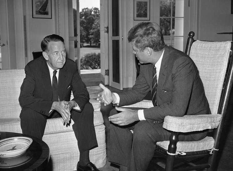 President John Kennedy and Llewellyn Thompson discussing the Berlin crisis in August 1962. (AP Photo via The Conversation)