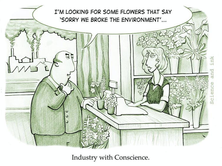"Cartoon labelled ""Industry with conscience"""