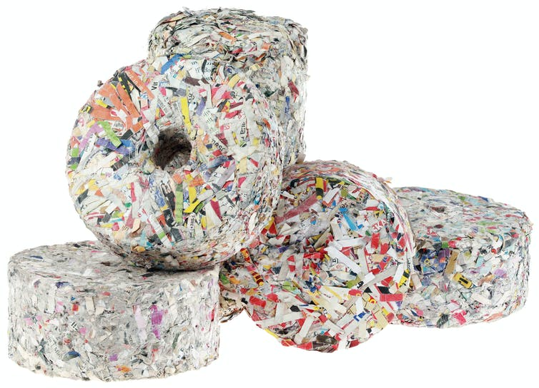 Briquettes or fuel pellets can be made out of paper, plastic, wood waste or textiles