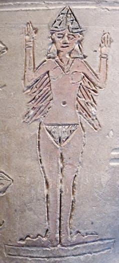Ishtar, naked on a vase. Louvre/Wikimedia