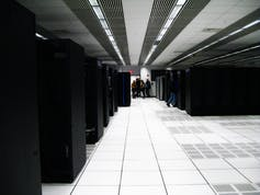 Room full of computer servers.