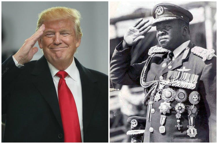 US President Donald Trump and African dictator Idi Amin - different, but the same. Credit: EPA/Reuters