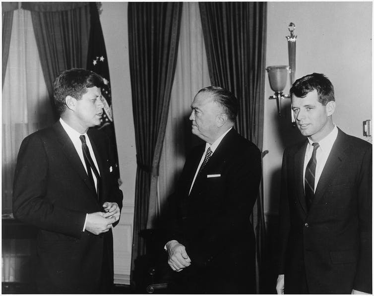 Attorney General Robert F. Kennedy and Director of FBI J. Edgar Hoover. Wikimedia Commons/Abbie Rowe
