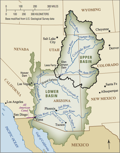 Map of Upper and Lower Colorado River Basins