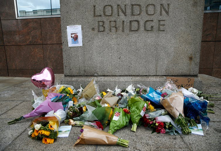 A floral tribute in the London Bridge area following the attack in London on June 5. AP