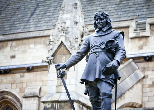 Statue of Oliver Cromwell outside the Palace of Westminster, London, UK