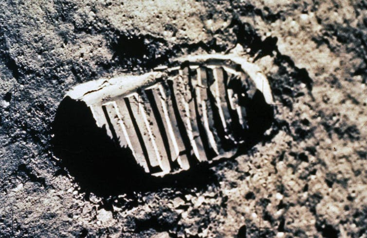 Image of the first footprint on the moon