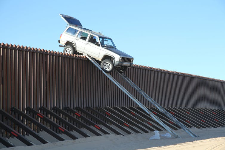 US Border Patrol agents from Yuma Sector's Yuma Station foiled a smuggling attempt when suspects attempting to drive a vehicle over the border fence fell prey to their own devices. Credit: Customs Border Protection