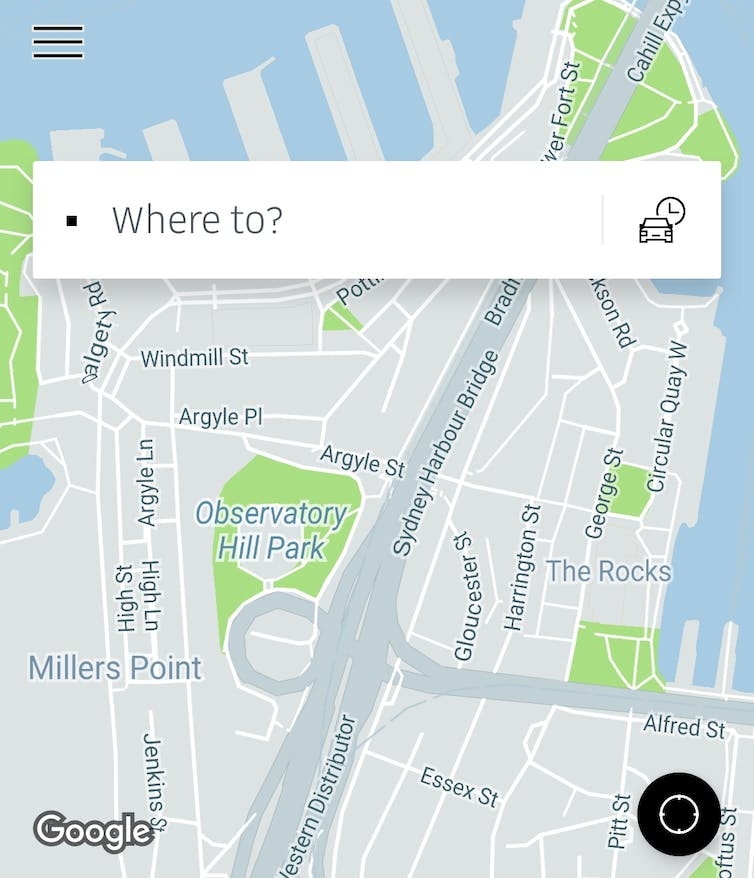 Screenshot of the Uber app showing a map of the Sydney CBD