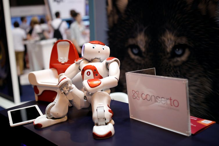 A 'NAO' humanoid robot, manufactured by SoftBank Group Corp., is displayed at the Viva Technology conference in Paris, France, June 15, 2017. REUTERS/Benoit Tessier. Benoit Tessier/Reuters