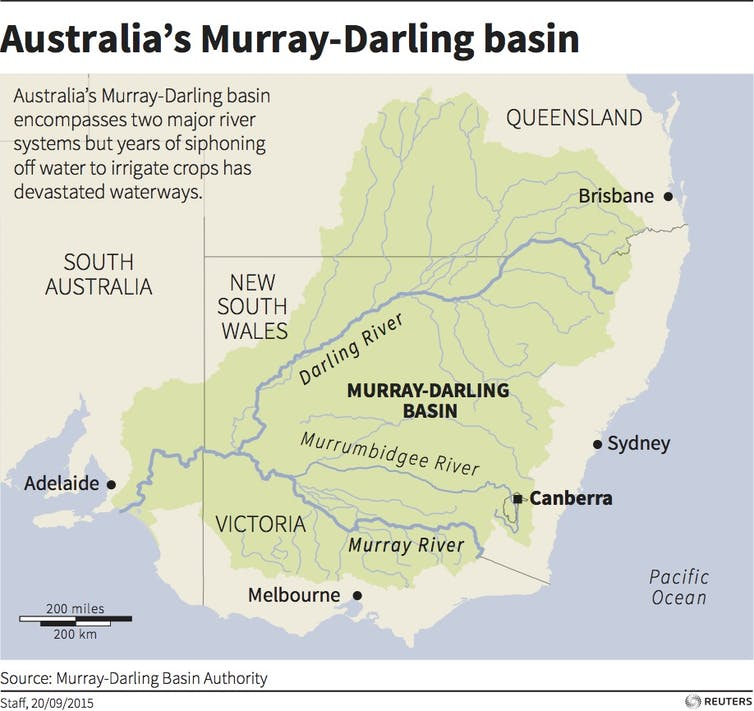 Map of south-east Australia highlighting the Murray-Darling basin and major rivers that flow through it