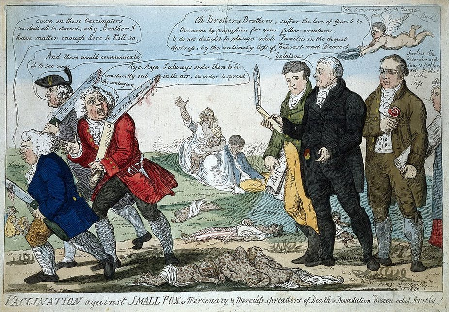 Edward Jenner, who pioneered vaccination, and two colleagues (right) seeing off three anti-vaccination opponents, with the dead lying at their feet (1808).