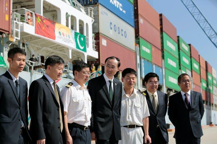 Chinese Ambassador to Pakistan Sun Weidong (centre) at the China-financed port in Gwadar, Pakistan, 2016. Caren Firouz/Reuters