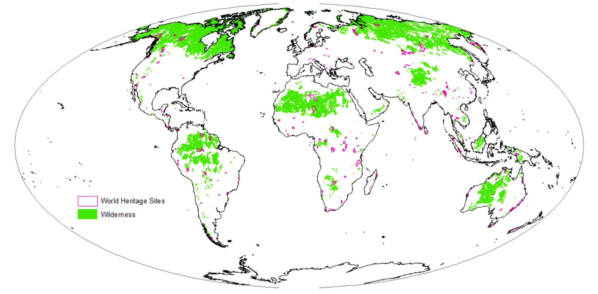 Very Little Of The Worldu0027s Wilderness (green) Is Within Natural World  Heritage Sites (pink). Author Provided
