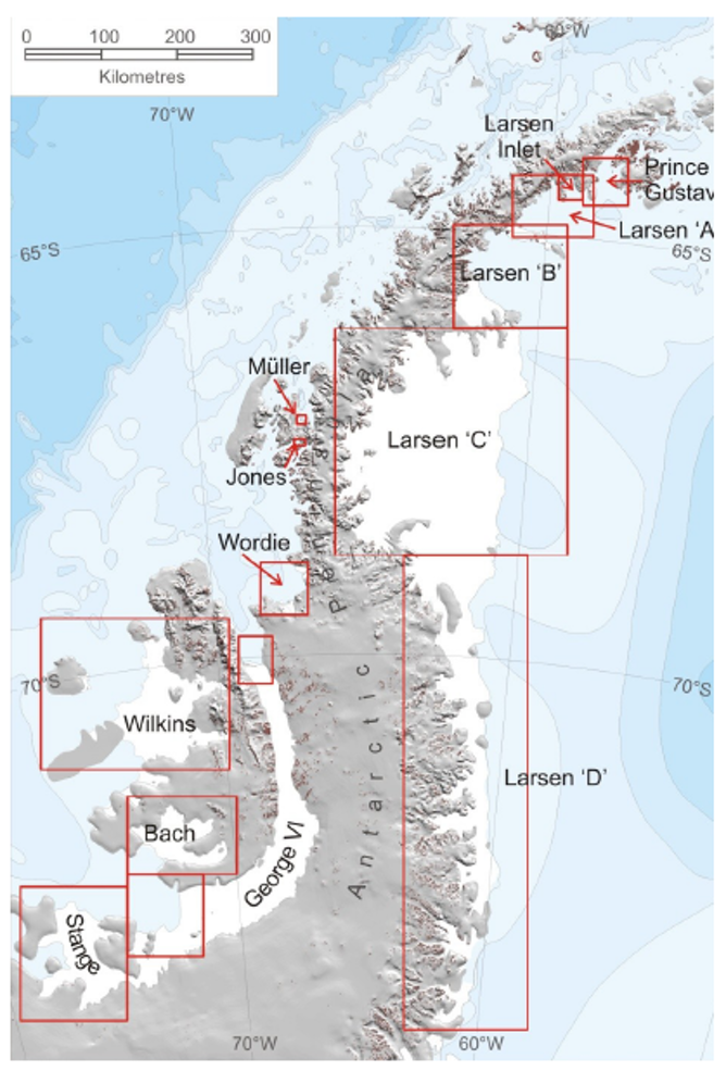 The ice shelves of the Antarctic peninsula. Note Larsen A and B have largely disappeared.  AJ Cook & DG Vaughan, 2014, CC BY-SA