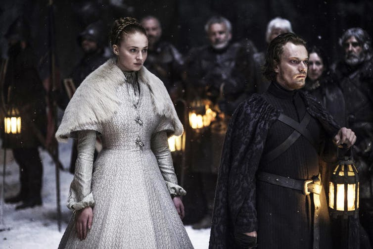 Sansa Stark (Sophie Turner) and Theon Greyjoy (Alfie Allen). Image credit: Home Box office, Inc.