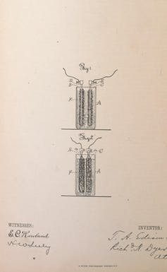 A diagram from the United States patents granted to Thomas Edison. USPTO/Wikimedia