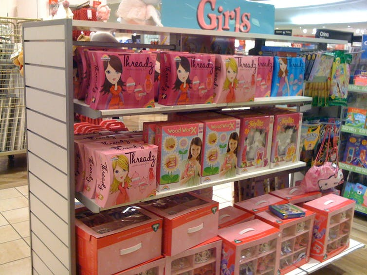 Girls toys. You can tell because they're pink. janetmck/flickr, CC BY