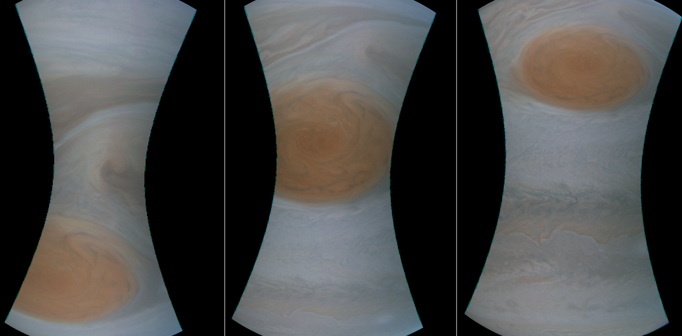 Early images of the closest look at Jupiter's Great Red Spot