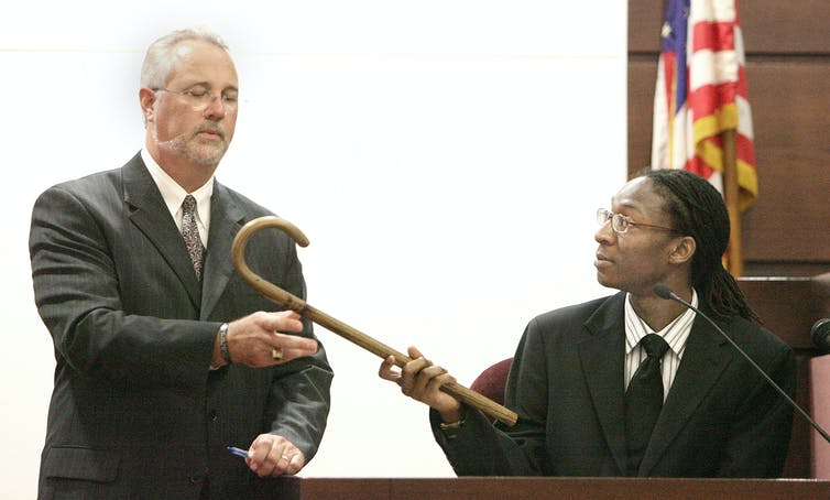 In a 2006 hazing trial, Marcus Jones alleges a fraternity member beat him with a cane while at Florida A&M University. (AP Photo/Mark Wallheiser, Pool)