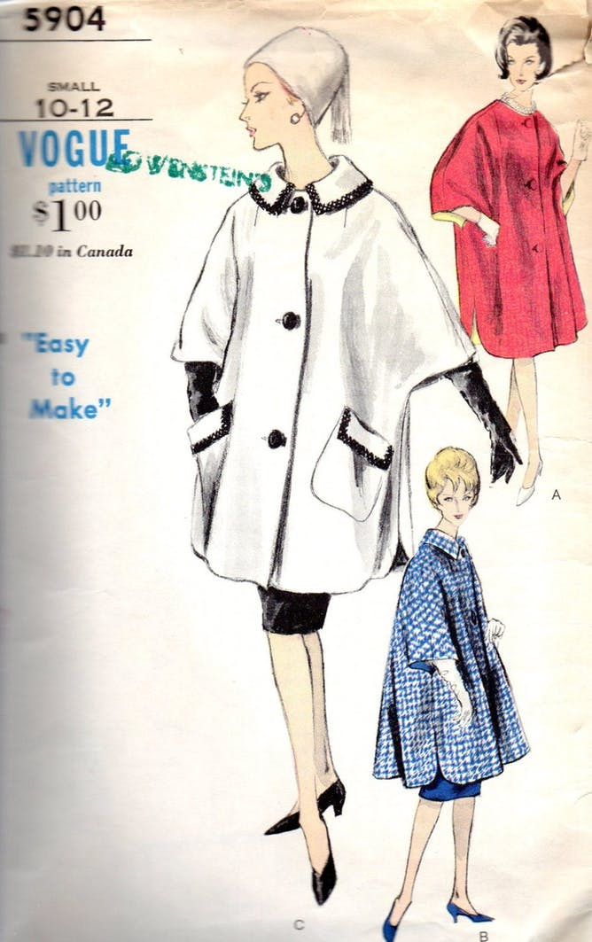 A 1960s Vogue pattern for a Misses coat/poncho cape. Image credit: Home Box office, Inc.