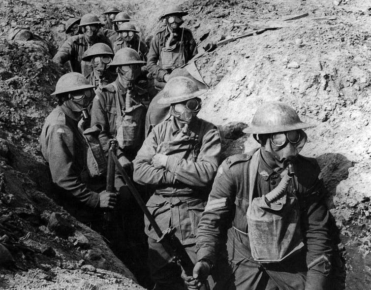 Allied forces wearing gas masks at Ypres, 1917. Credit: Wikimedia Commons, CC BY-SA