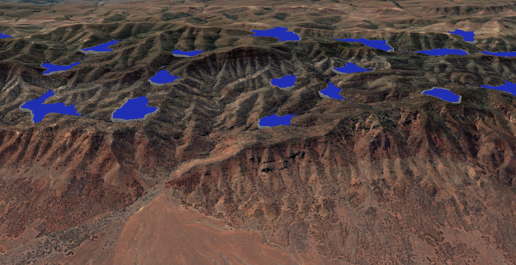 Image of Potential PHES upper reservoir sites east of Port Augusta, South Australia.