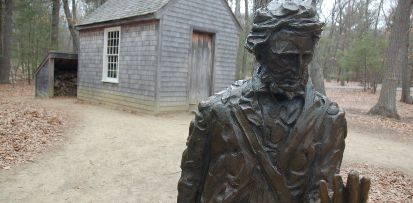thoreau news research and analysis the conversation page  a statue of henry david thoreau in front of a replica of his cabin in concord massachusetts