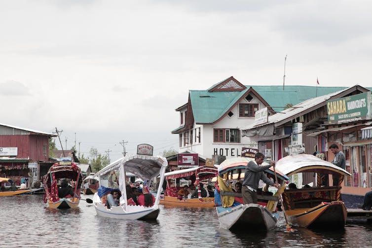 Tourists in shikaras on the Dal Lake, Srinagar, Kashmir. Ben Crowe/ERA Films