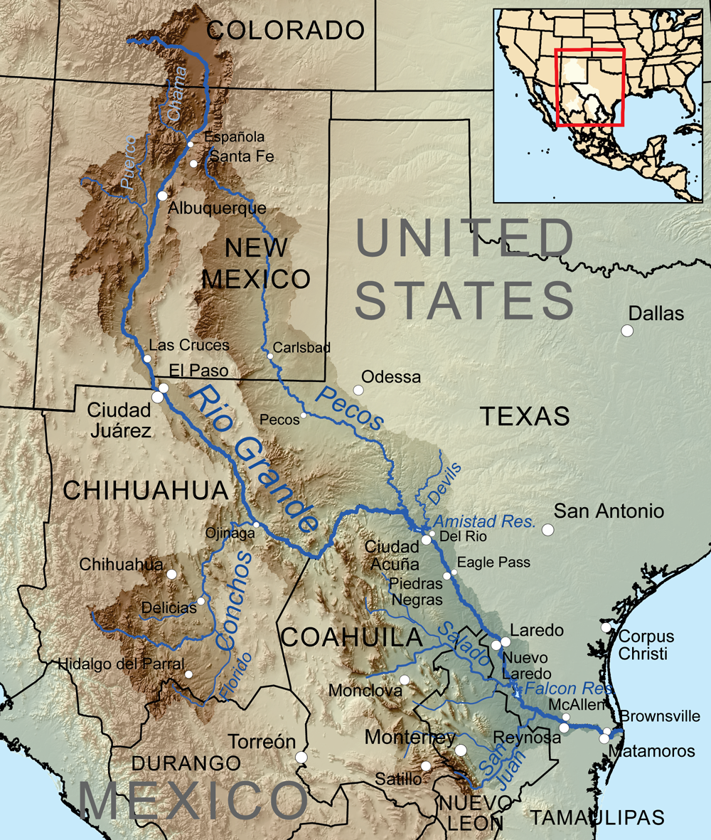 the rio grande rises in south central colorado and flows 1885 miles to the gulf of mexico kmusser cc by sa