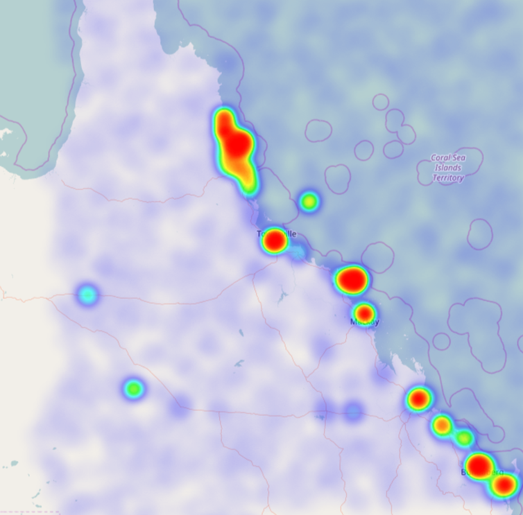 Image of a Tweet heat map for the Great Barrier Reef
