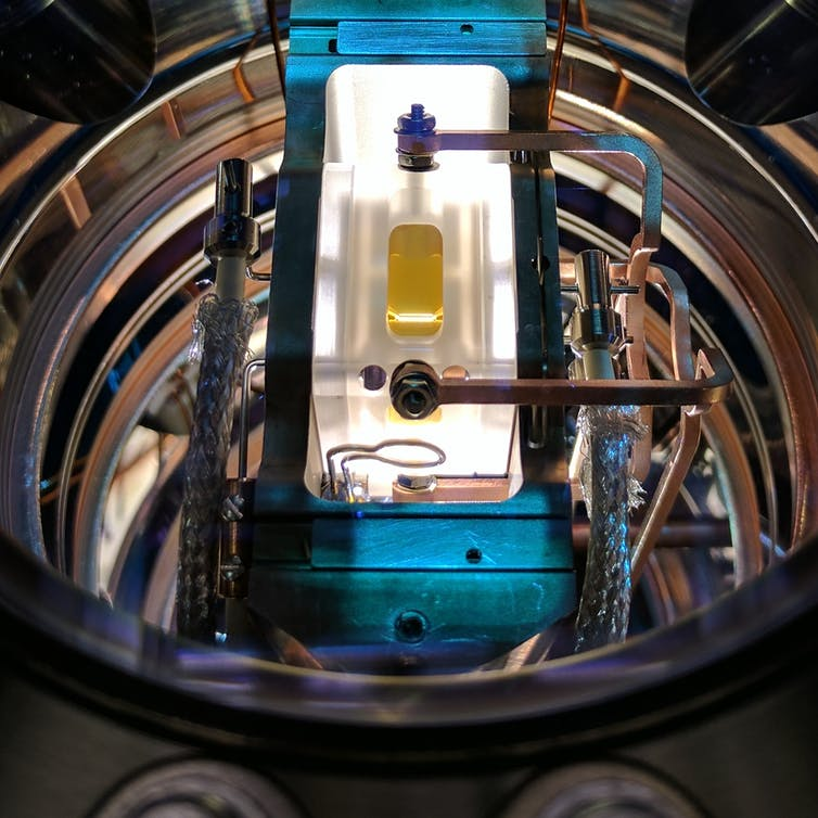 An ion-trap used for quantum computing research in the Quantum Control Laboratory at the University of Sydney. Michael Biercuk, Author provided
