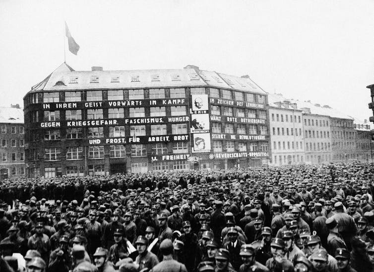 Thousands of Nazi storm troops demonstrate in a Communist neighborhood in Berlin on Jan. 22, 1933