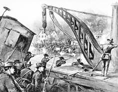 Historic drawing of soldiers firing on workers.