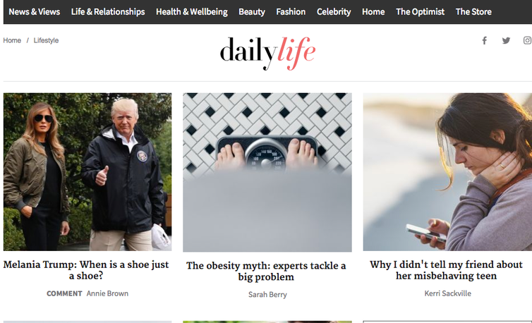 Daily Life's home page this Wednesday morning.