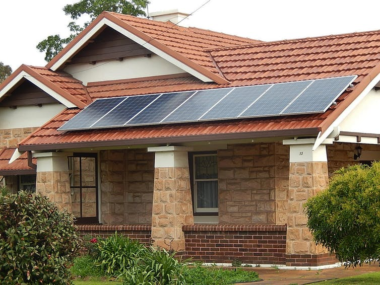 Some councils are helping pensioners and other low-income earners to install solar panels to cut their energy bills. Michael Coghlan, CC BY-SA