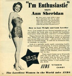 1950s advertisement for vitamin candy with Ann Sheridan