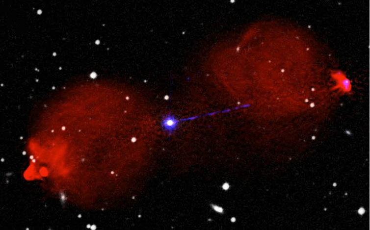 A composite image of a radio galaxy with radio in red, optical in white and X-ray in blue. An X-ray jet emanates from the environs of a super-massive black hole at the centre, powering two diffuse lobes (shown in red) of radio emission, which dominate the appearance at radio wavelengths.