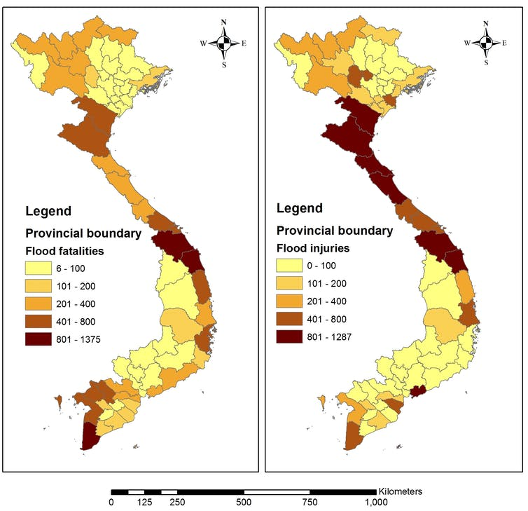 Flood risk map by province using Multi-Criteria Decision-Making method and the national disaster database.Author provided