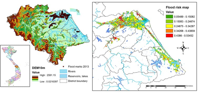 Left: flooding hazard map for Quang Nam province. Right: risk of flooding impacts on residents, calculated on the basis of flood hazards from the left map, plus people's exposure and vulnerability. Author provided
