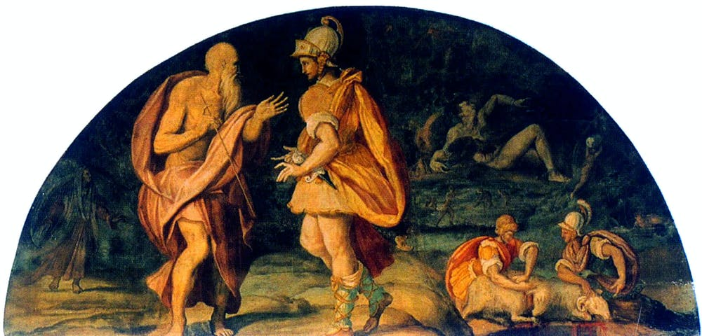 friday essay journeys to the underworld greek myth film and alessandro allori 1580 odysseus questions the seer tiresias commons
