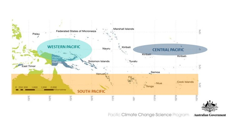 Different zones of the Pacific are likely to experience differing amounts of climate variability. Author provided