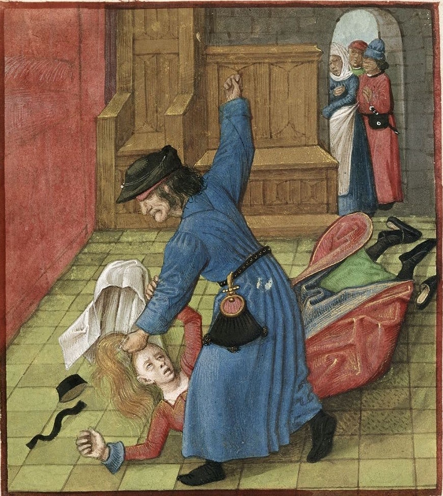 A jealous husband beats his wife in a manuscript of Le Roman de la Rose