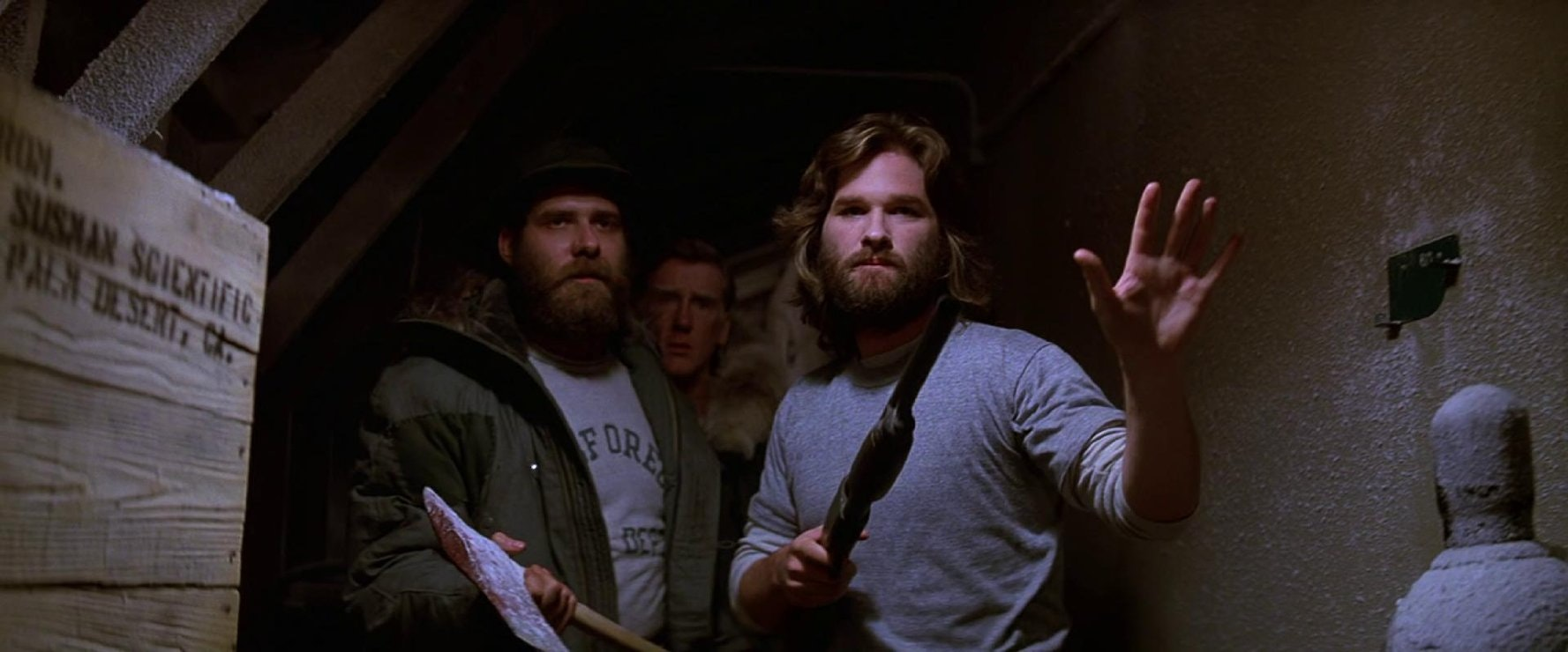 Kurt Russell, Richard Masur, and Donald Moffat in The Thing.