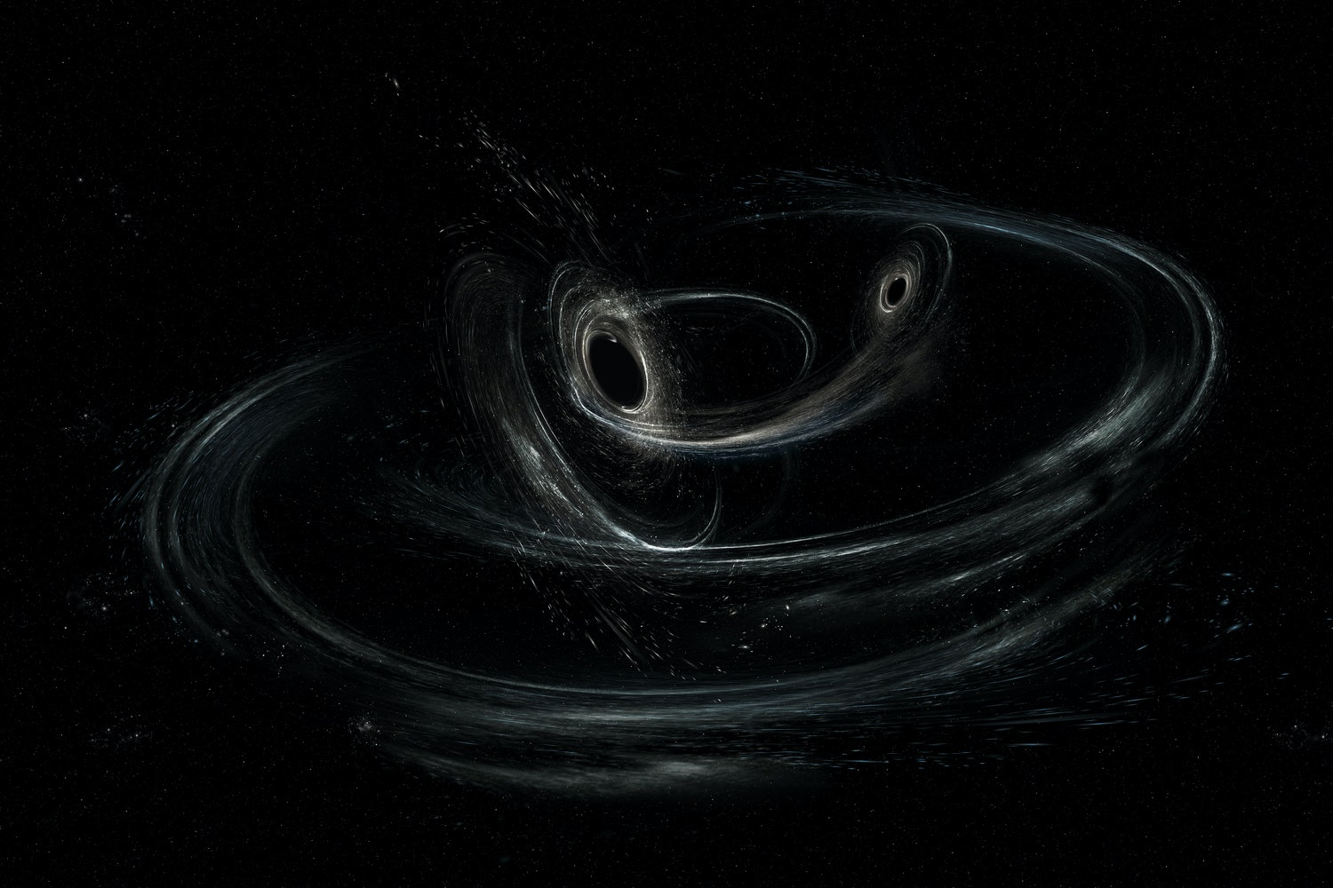 An artist's conception of two merging black holes