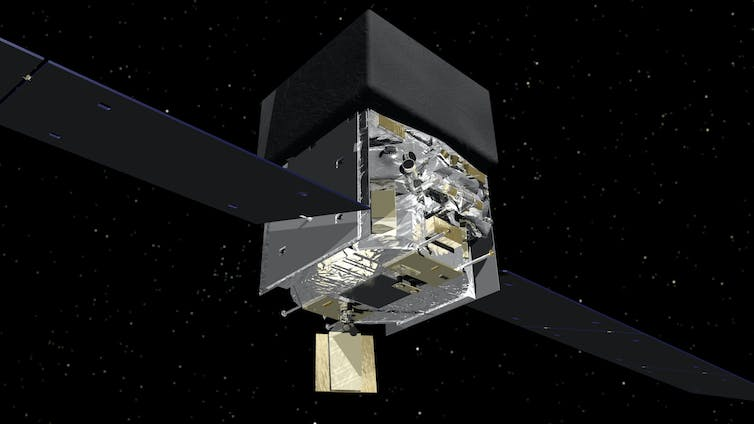 Graphic of NASA's Fermi satellite. The satellite has two flat wings protruding either side and is comprised of two stacked cube shapes in the centre. It's shown against a backgroun of black with white dots.