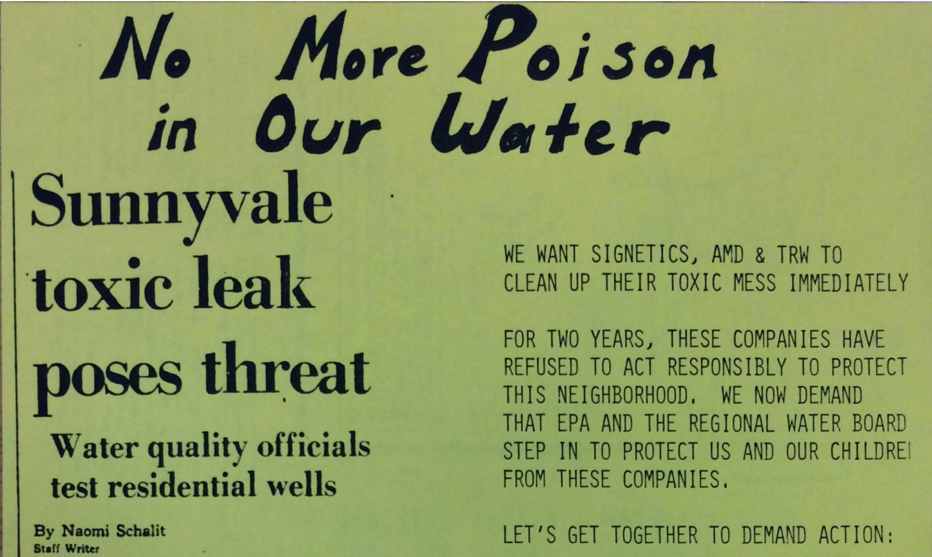 Silicon Valley Toxics Coalition flyer.  Folder 3, Box 11, Silicon Valley Toxics Coalition Papers, San Jose State University