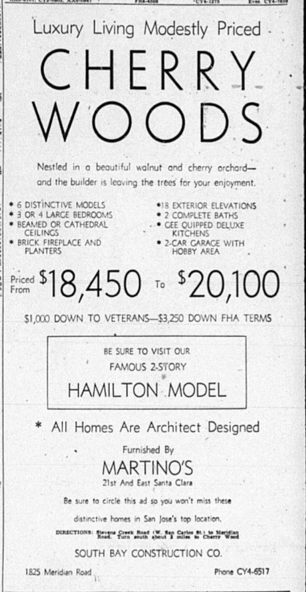 A promising advertisement for homes in San Jose. San Jose Mercury, January 18, 1956