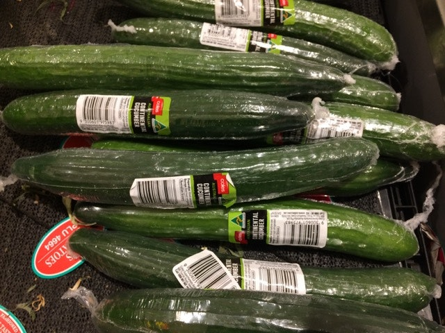Picture of cucumbers wrapped in clear plastic
