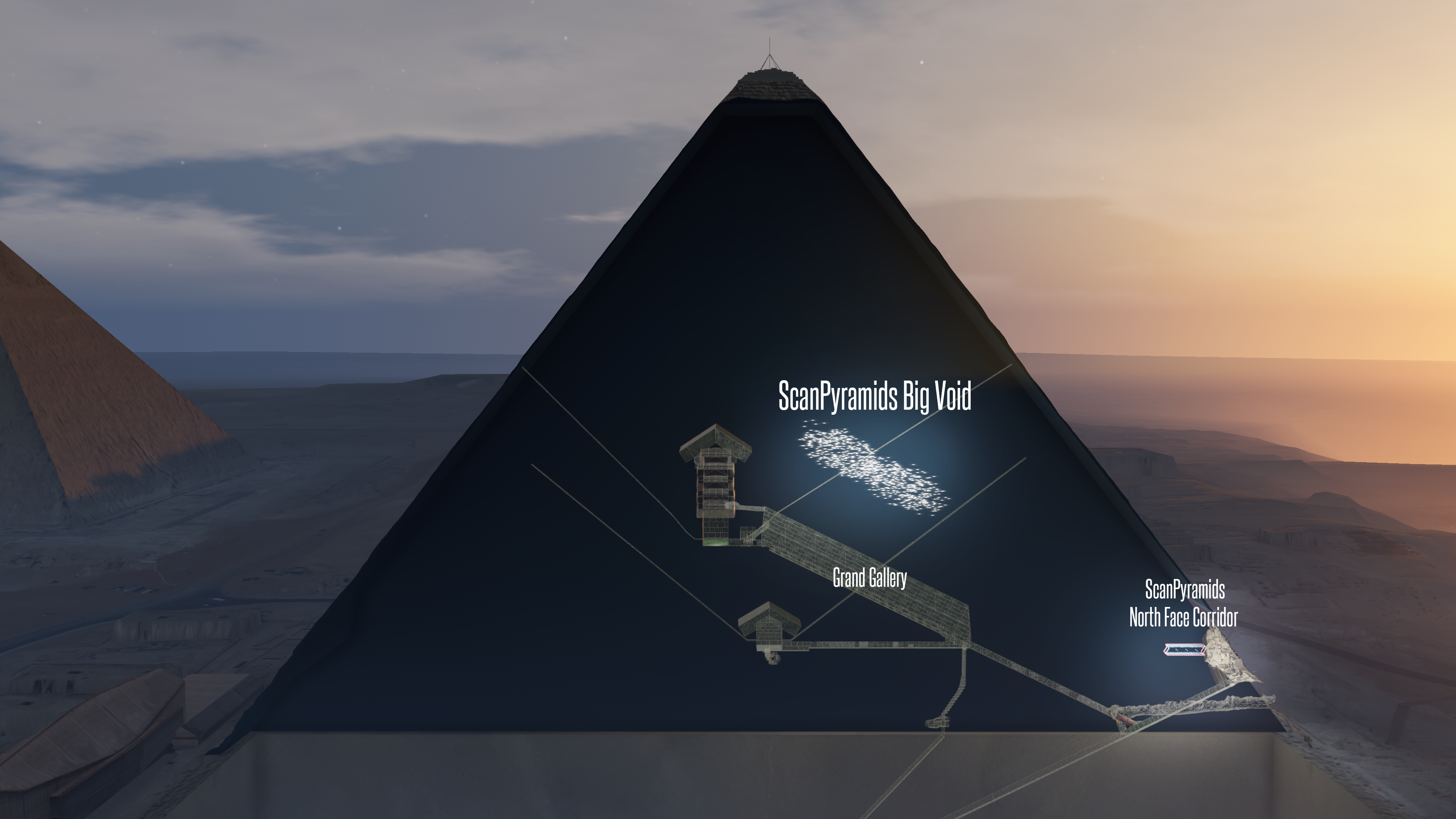Graphic representation of the known chambers of the pyramid and the newly discovered void.